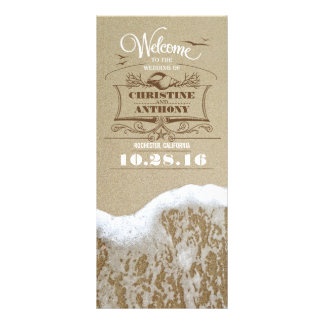 romantic beach wedding programs with sea foam