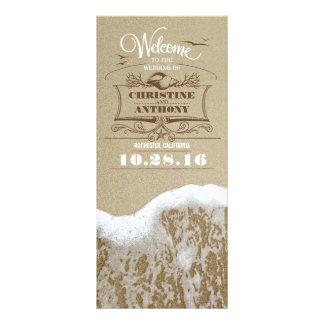 romantic beach wedding programs with sea foam custom rack cards