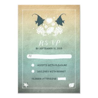 romantic beach wedding RSVP cards