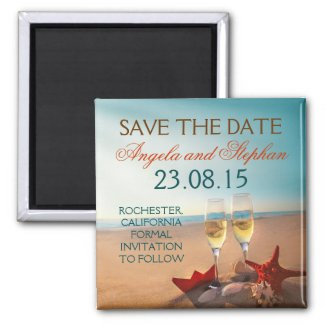 romantic beach wedding save the date magnets