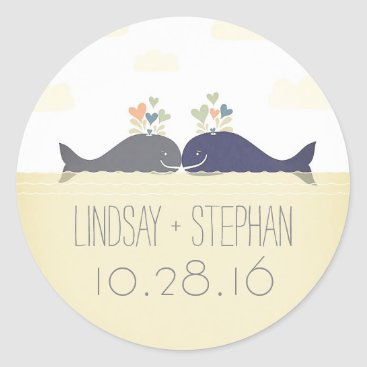 Beach Themed Romantic beach wedding stickers with whale couple