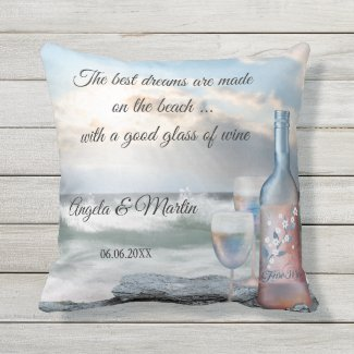 Romantic Beach Wine Fine Art Wedding Pillow