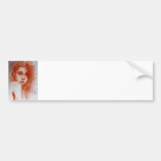 ROMANTIC BEAUTY / Woman Portrait in Sepia Brown Car Bumper Sticker
