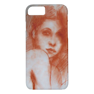 ROMANTIC BEAUTY / Woman Portrait in Sepia Brown iPhone 8/7 Case
