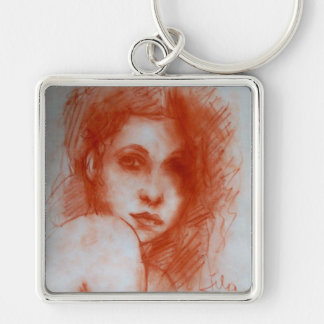 ROMANTIC BEAUTY / Woman Portrait in Sepia Brown Keychain