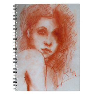 ROMANTIC BEAUTY / Woman Portrait in Sepia Brown Notebook