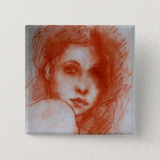 ROMANTIC BEAUTY / Woman Portrait in Sepia Brown Pinback Button