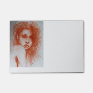 ROMANTIC BEAUTY / Woman Portrait in Sepia Brown Post-it® Notes