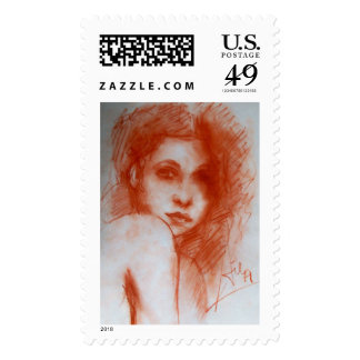 ROMANTIC BEAUTY / Woman Portrait in Sepia Brown Postage