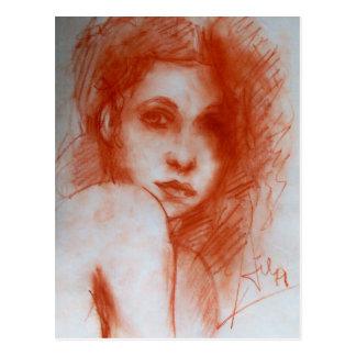 ROMANTIC BEAUTY / Woman Portrait in Sepia Brown Postcard