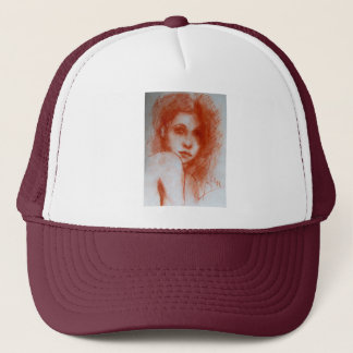 ROMANTIC BEAUTY / Woman Portrait in Sepia Brown Trucker Hat
