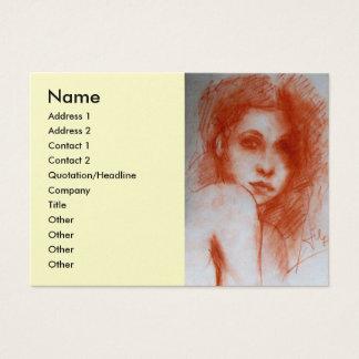 ROMANTIC BEAUTY Woman Portrait Sepia Brown Silver Business Card
