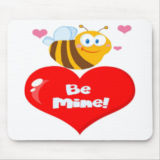 Romantic Bee Carrying a Be Mine Heart Mouse Pad
