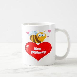 Romantic Bee Carrying a Be Mine Heart Classic White Coffee Mug