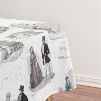 Romantic Biedermeier Vintage Fashion Toile Tablecloth