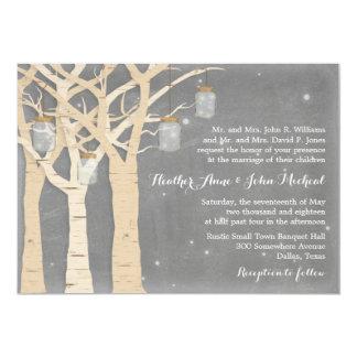 Romantic Birch Tree Mason Jar Wedding Card