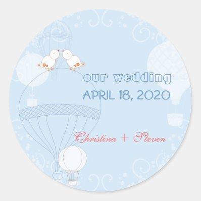 Romantic Birds on Hot Air Balloons Wedding Classic Round Sticker