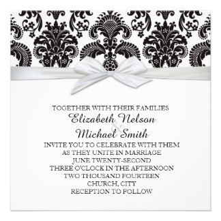Romantic Black&White Damask Wedding Invite
