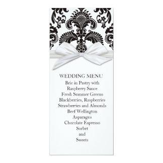 Romantic Black&White Damask Wedding Menu Custom Invite