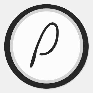Romantic Black/white Monogrammed P Round Sticker