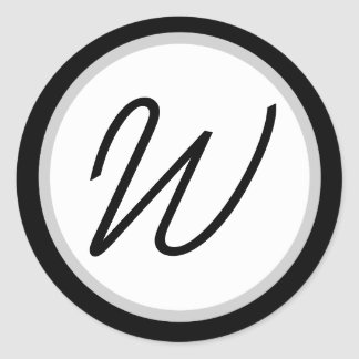 Romantic Black/white Monogrammed W Round Sticker