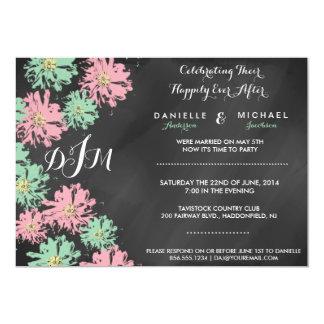 Romantic Blossom Chalkboard Post Wedding Invite