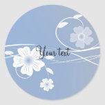 Romantic blue and white floral design round stickers