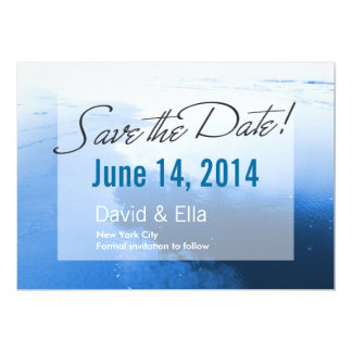 Romantic Blue Beach Save the Date Announcement