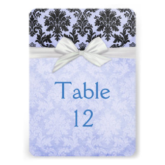 Romantic Blue Blush Damask Table card