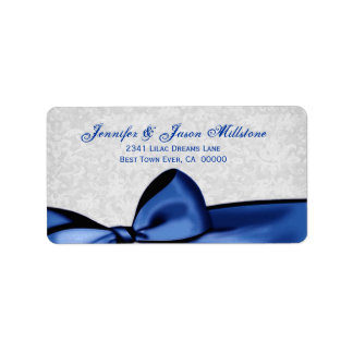 Romantic Blue Bow and Silver Gray Damask Wedding Address Label