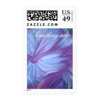 Romantic blue flowers postage stamp