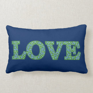 Romantic Blue Green Periwinkles Floral LOVE design Lumbar Pillow