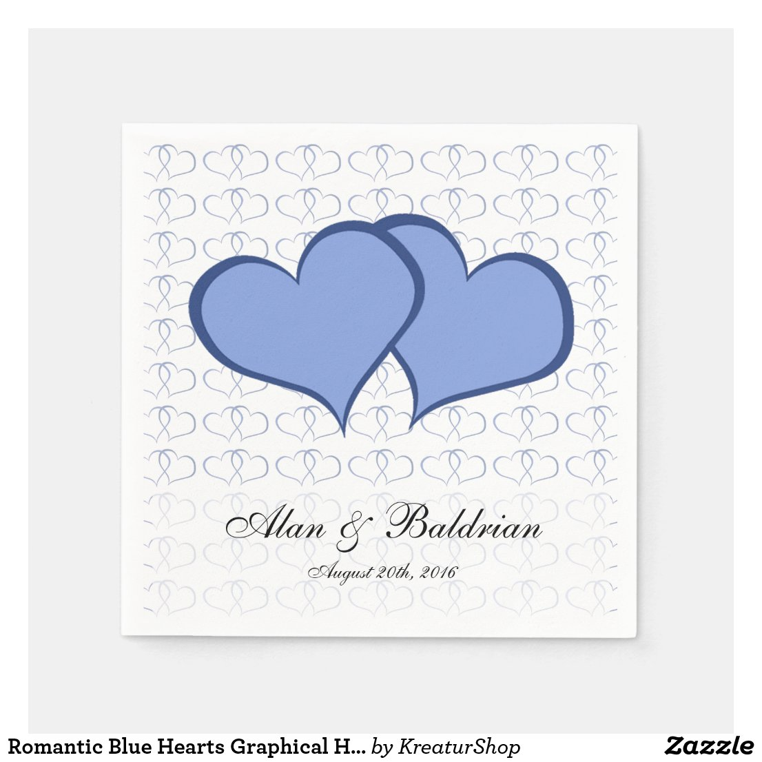 Romantic Blue Hearts Graphical He He Custom Text