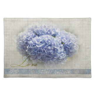 Romantic Blue Hydrangeas Cloth Placemat