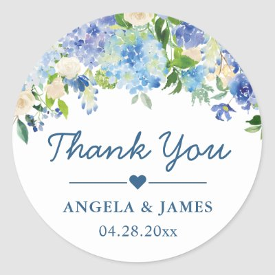 Romantic Blue Hydrangeas Floral Wedding Thank You Classic Round Sticker
