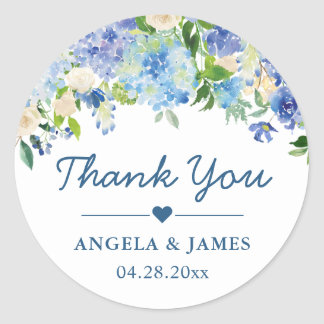 Romantic Blue Hydrangeas Floral Wedding Thank You Classic Round Sticker