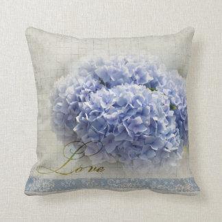 Romantic Blue Hydrangeas Throw Pillows