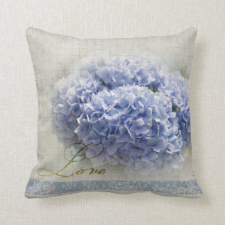 Romantic Blue Hydrangeas Throw Pillow