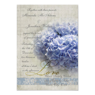 Romantic Blue Hydrangeas Wedding Card