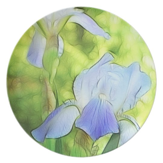 Romantic Blue Irises Dinner Plate