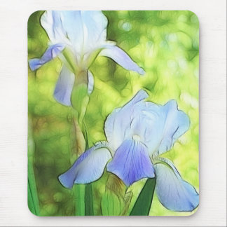 Romantic Blue Irises Mouse Pad