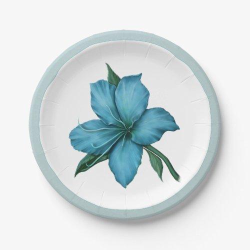 Romantic Blue Lily Paper Plate