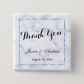 Romantic Blue Marble Wedding Thank You Button