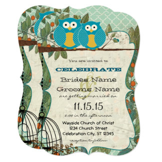Romantic Blue Owls Marry My Best Friend Wedding Card