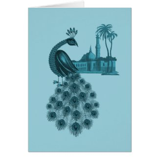 Romantic Blue Peacock Card