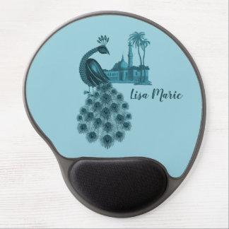 Romantic Blue Peacock Gel Mouse Pad