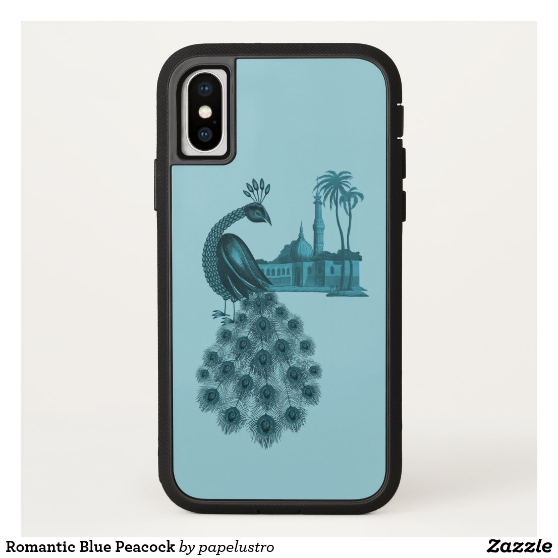 Romantic Blue Peacock iPhone X Case