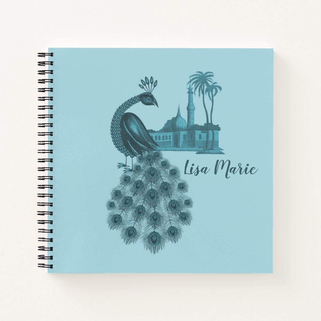 Romantic Blue Peacock Notebook