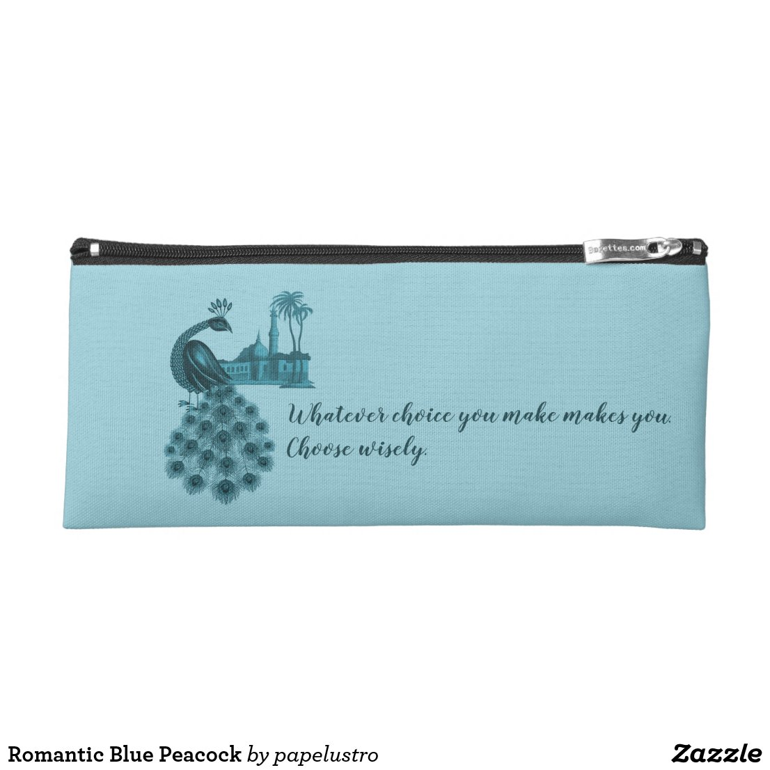 Romantic Blue Peacock Pencil Case