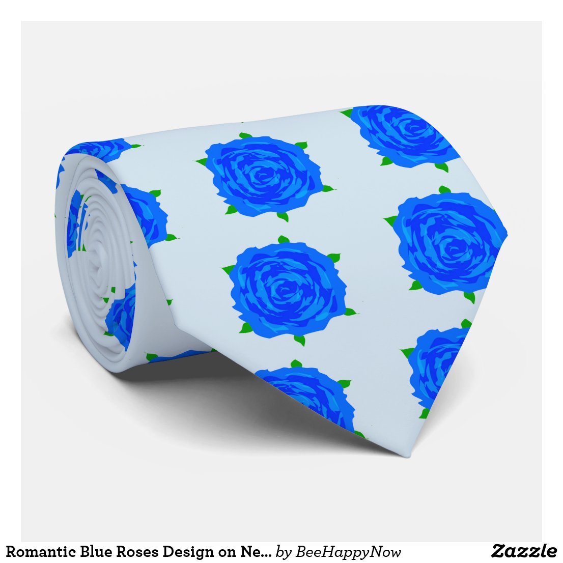 Romantic Blue Roses Design on Necktie
